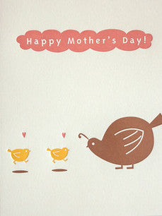 fugu fugu press mother's day quails letterpress printed on natural white recycled paper