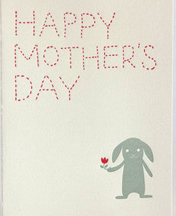 fugu fugu press mother's day bunny letterpress printed on natural white recycled paper
