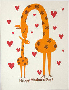 fugu fugu press mother's day giraffes letterpress printed on natural white recycled paper