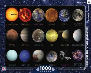 nasa space travel poster, the solar system is a 1,000 piece jigsaw puzzle. made in the USA