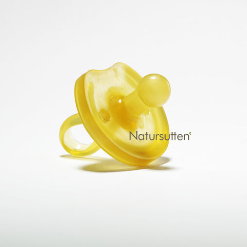 100% natural rubber small (0-6 month) round butterfly shaped pacifier is molded in one piece & environment friendly