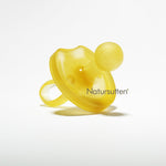 100% natural rubber large (12+ month) round butterfly shaped pacifier is molded in one piece & environment friendly