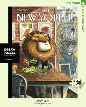 New York Puzzle Companys 500 piece jigsaw puzzle of the New Yorker cover new leaf. Made in the USA