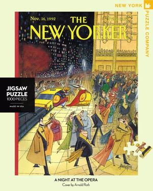 New York Puzzle Companys 1,000 piece jigsaw puzzle of the New Yorker cover a night at the opera. Made in the USA