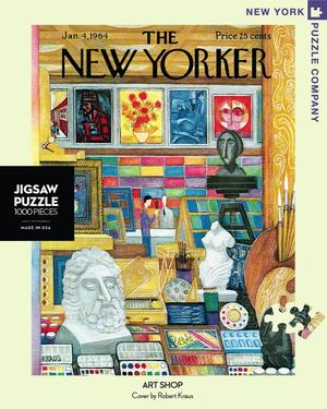 New York Puzzle Companys 1,000 piece jigsaw puzzle of the New Yorker cover art shop. Made in the USA