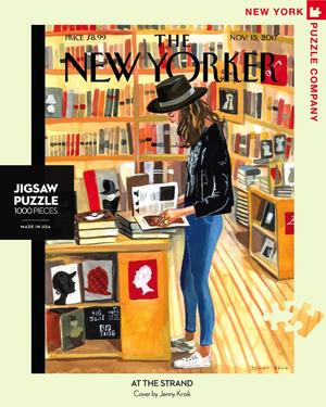 New York Puzzle Companys 1000 piece jigsaw puzzle of the New Yorker cover at the strand. Made in the USA
