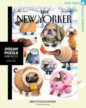 new york puzzle companys 1000 piece jigsaw puzzle of the new yorker cover baby it's cold outside. made in the usa