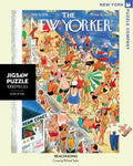 New York Puzzle Companys 1,000 piece jigsaw puzzle of the New Yorker cover beachgoing. Made in the USA