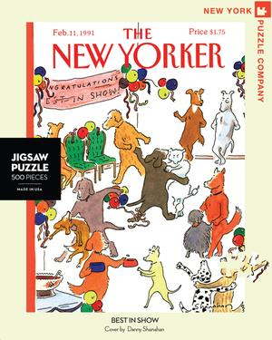 New York Puzzle Companys 500 piece jigsaw puzzle of the New Yorker cover best in show. Made in the USA