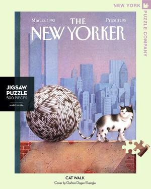 New York Puzzle Companys 500 piece jigsaw puzzle of the New Yorker cover cat walk. Made in the USA
