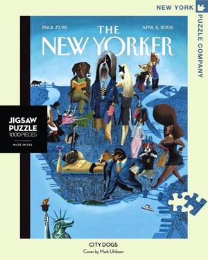 New York Puzzle Companys 1,000 piece jigsaw puzzle of the New Yorker cover city dogs. Made in the USA