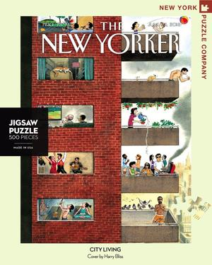 New York Puzzle Companys 1000 piece jigsaw puzzle of the New Yorker cover city living. Made in the USA