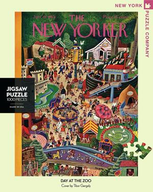New York Puzzle Companys 1,000 piece jigsaw puzzle of the New Yorker cover day at the zoo. Made in the USA