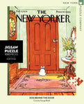 New York Puzzle Companys 1000 piece jigsaw puzzle of the New Yorker cover dog behind the door. Made in the USA