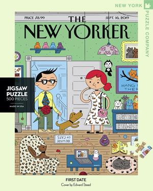 New York Puzzle Companys 500 piece jigsaw puzzle of the New Yorker cover first date. Made in the USA