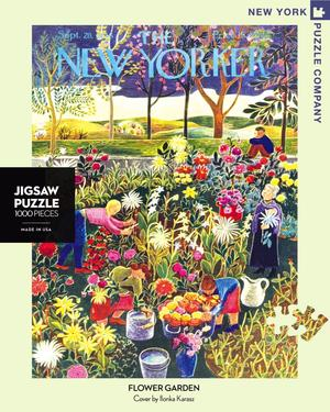 New York Puzzle Company's 1,000 piece jigsaw puzzle of the New Yorker cover flower garden. Made in the USA