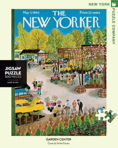 New York Puzzle Companys 500 piece jigsaw puzzle of the New Yorker cover garden center. Made in the USA