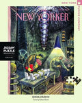 New York Puzzle Companys 1,000 piece jigsaw puzzle of the New Yorker cover ghouls rush in. Made in the USA