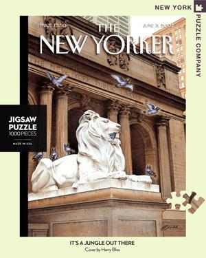 New York Puzzle Companys 1000 piece jigsaw puzzle of the New Yorker it's a jungle out there. Made in the USA