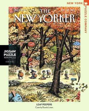 New York Puzzle Companys 1,000 piece jigsaw puzzle of the New Yorker cover leaf peepers. Made in the USA