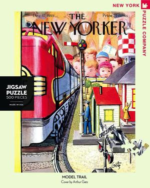 New York Puzzle Companys 500 piece jigsaw puzzle of the New Yorker cover model train. Made in the USA
