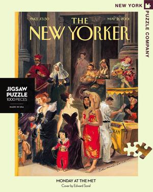 New York Puzzle Companys 1,000 piece jigsaw puzzle of the New Yorker cover monday at the met. Made in the USA