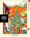 new york puzzle companys 1000 piece jigsaw puzzle of the new yorker cover pre-holiday rush. made in the usa