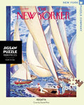 New York Puzzle Companys 1,000 piece jigsaw puzzle of the New Yorker cover regatta. Made in the USA