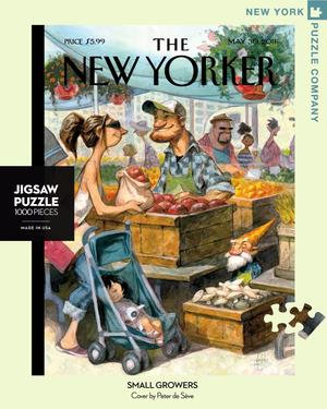 New York Puzzle Companys 1,000 piece jigsaw puzzle of the New Yorker cover small growers is made in the USA