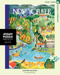 New York Puzzle Companys 500 piece jigsaw puzzle of the New Yorker cover summer vacation. Made in the USA