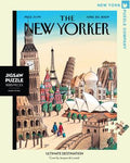 New York Puzzle Companys 1,000 piece jigsaw puzzle of the New Yorker cover ultimate destination. Made in the USA