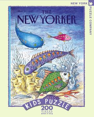New York Puzzle Companys 200 piece jigsaw puzzle of the New Yorker cover underwater adventure. Made in the USA