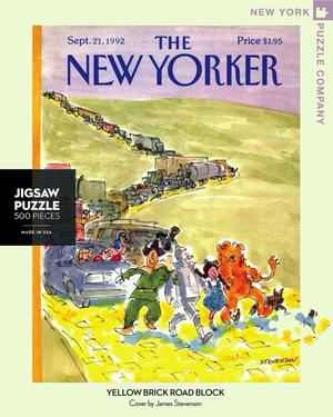 New York Puzzle Companys 500 piece jigsaw puzzle of the New Yorker cover yellow brick road block. Made in the USA
