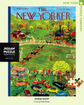 New York Puzzle Companys 1,000 piece jigsaw puzzle of the New Yorker cover Horse Show. Made in the USA