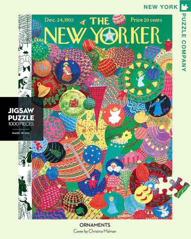 New York Puzzle Companys 1,000 piece jigsaw puzzle of the New Yorker cover ornaments. Made in the USA