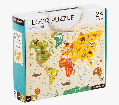 petit collage floor puzzle our world