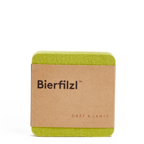 wool felt coaster 4-pack, solid color - pistachio