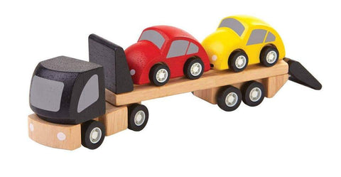 car transporter, planworld wooden toy from plan toys is made of sustainable rubber tree wood and painted with water-based dyes and organic color pigment