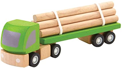 logging truck, planworld wooden toy from plan toys is made of sustainable rubber tree wood and painted with water-based dyes and organic color pigment