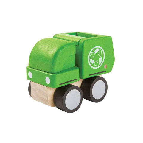 mini garbage truck, wooden toy from plan toys is made of sustainable rubber tree wood and painted with water-based dyes and organic color pigment