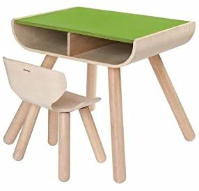 plan toys table & chair - green