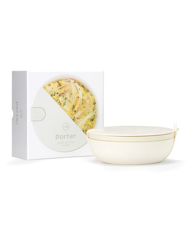 porter cream bowl is a premium ceramic lunch bowl that features a protective silicone wrap