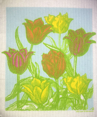 tulip garden swedish dishcloth:  biodegradable & compostable dishcloth made of 70% cellulose/30% cotton & water-based inks