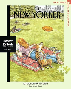 New York Puzzle Companys 500 piece jigsaw puzzle of the New Yorker cover to Fetch or Not Fetch. Made in the USA