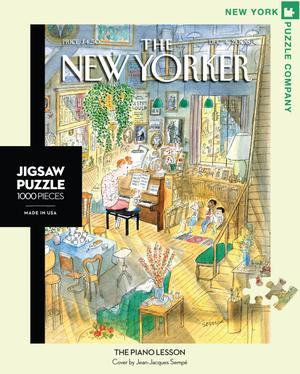 New York Puzzle Companys 1,000 piece jigsaw puzzle of the New Yorker cover the Piano Lesson Made in the USA