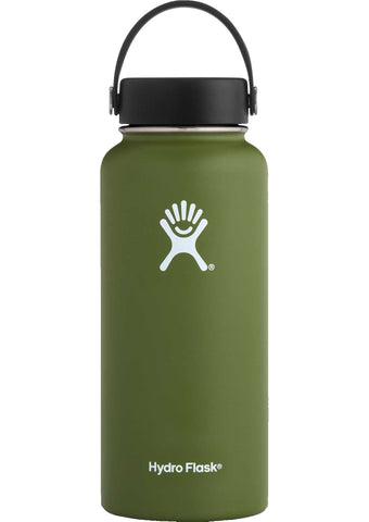 olive 32 oz wide mouth hydro flask bottle keeps liquids cold for up to 24 hours and hot up to 6. bpa-free