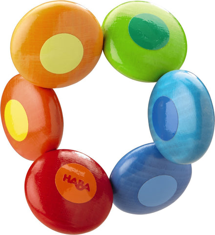 haba rainbow circles sustainably grown beechwood wood teething toy or clutching toy with non-toxic water-based stain. made in germany