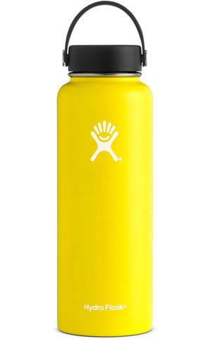 Hydro flask lemon 40 oz wide mouth bottle keeps liquids cold for up to 24 hours and hot up to 12. BPA-free