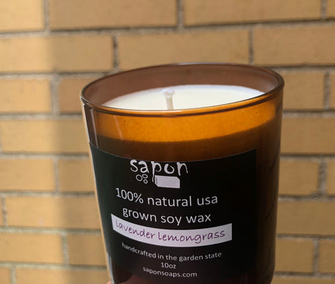 sapon lavender lemongrass 10oz hand-crafted soy candles made in small batches using 100% USA soy wax