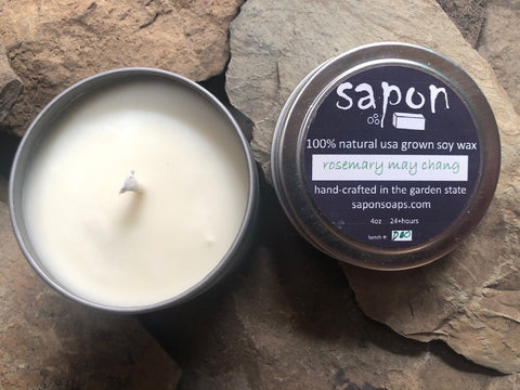 sapon rosemary may chang 4oz hand-crafted soy candles made in small batches using 100% USA soy wax